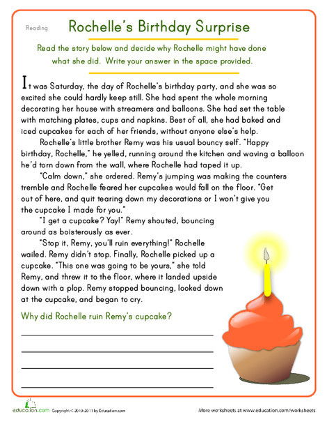 Fourth Grade Reading & Writing Worksheets: Rochelle's Birthday Surprise