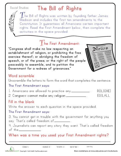 Second Grade Reading & Writing Worksheets: Learn the First Amendment