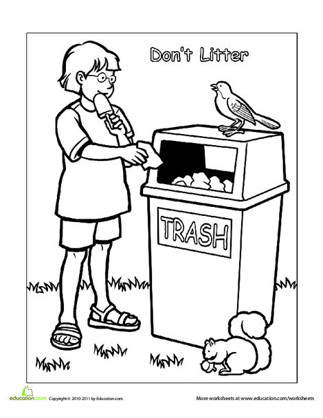 Preschool Coloring Worksheets: Words To Live By: Don't Litter