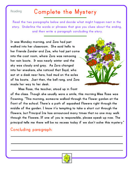 Fourth Grade Reading & Writing Worksheets: Fourth Grade Reading Practice: Complete the Mystery