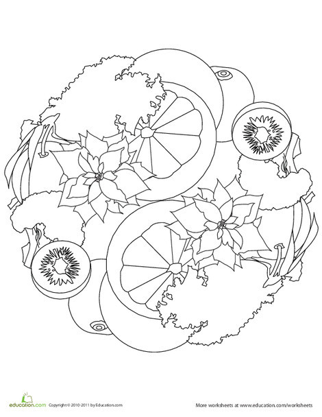 Kindergarten Seasons Worksheets: Color A Mandala: Winter Produce
