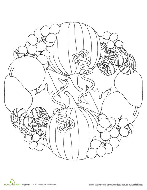 Kindergarten Coloring Worksheets: Fall Produce Mandala