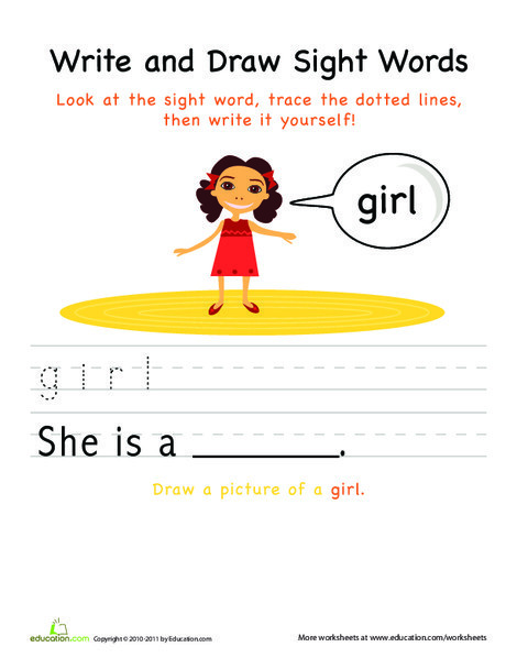 Kindergarten Reading & Writing Worksheets: Write and Draw Sight Words: Girl