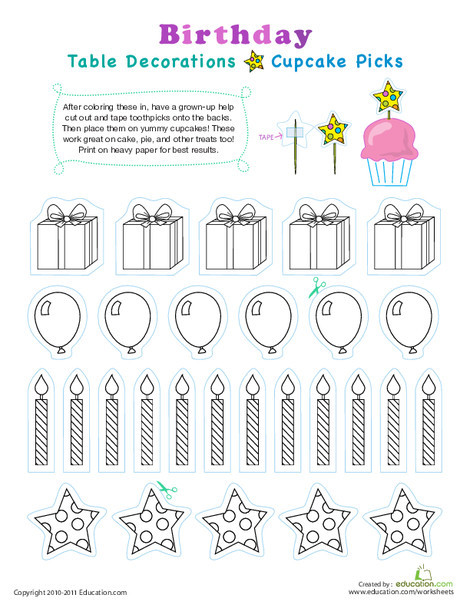 Kindergarten Arts & crafts Worksheets: Birthday Cupcake Toppers