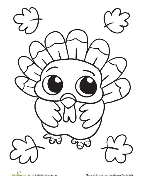 Kindergarten Holidays Worksheets: Baby Turkey Coloring Page