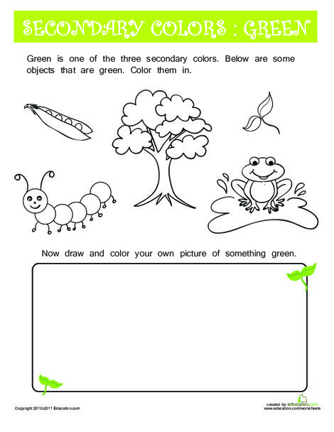 Kindergarten Coloring Worksheets: Objects that are Green