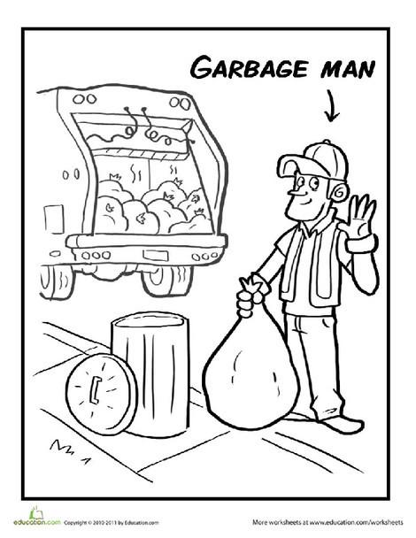 Preschool Coloring Worksheets: Color the Garbage Man