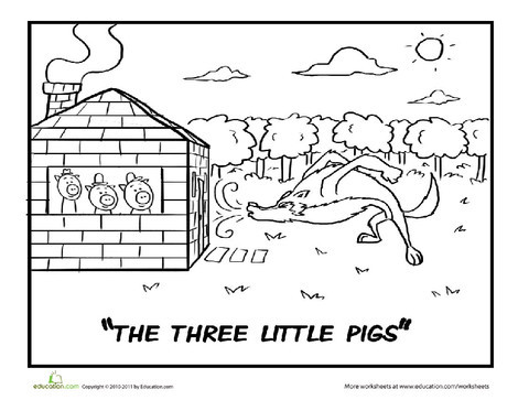 Preschool Coloring Worksheets: Three Little Pigs Coloring Page