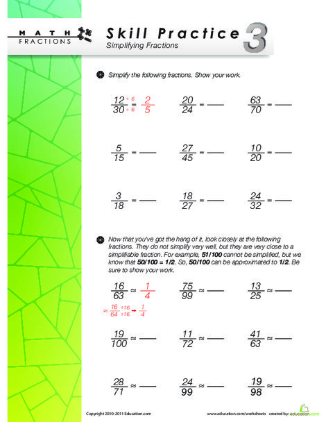 Fourth Grade Math Worksheets: Skill Practice 3: Simplifying Fractions