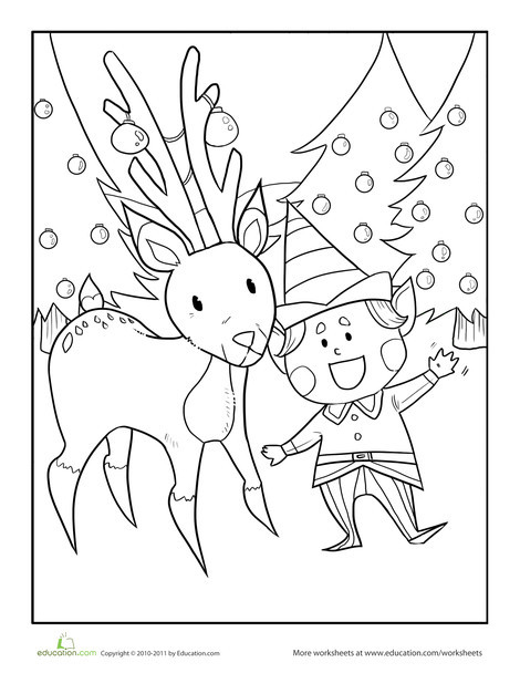 Preschool Coloring Worksheets: Color the Elf and his Reindeer Friend