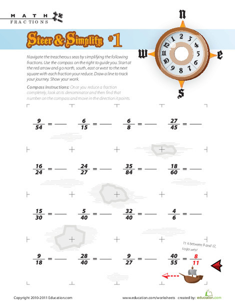 Fourth Grade Math Worksheets: Steer & Simplify #1