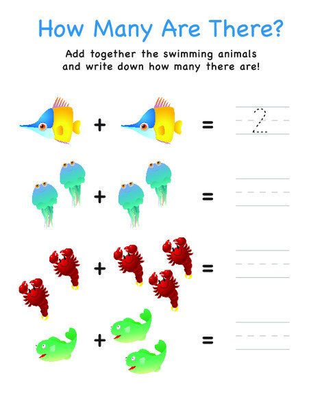 Preschool Math Worksheets: How Many Are There? Fish