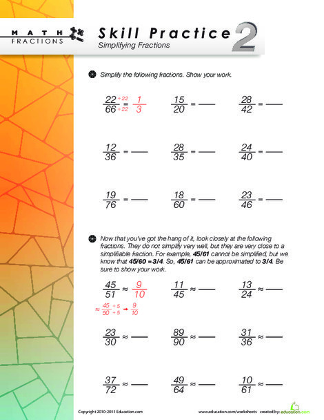 Fourth Grade Math Worksheets: Simplifying Fractions