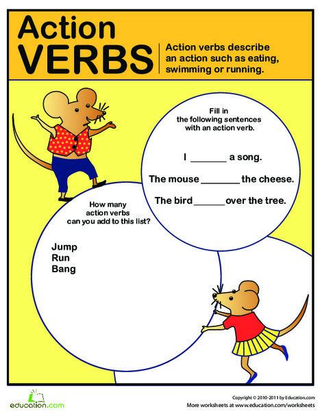 Second Grade Reading & Writing Worksheets: Verb Circus