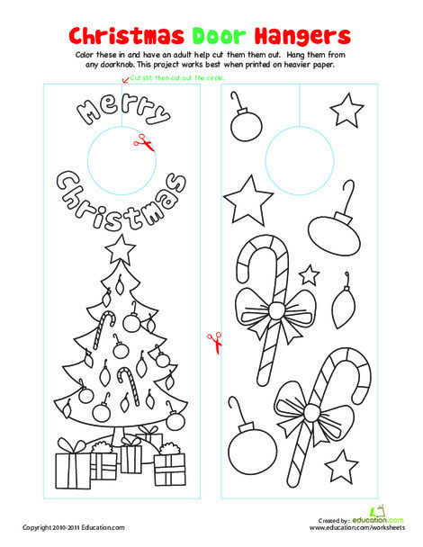 Kindergarten Holidays Worksheets: Christmas Door Decorations