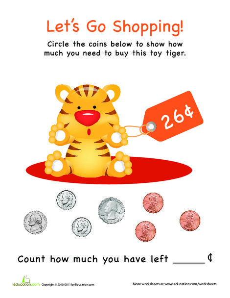 Kindergarten Math Worksheets: Let's Go Shopping!: Toy Tiger