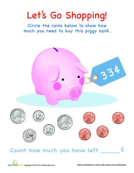 Preschool Math Worksheets: Counting Money: Piggy Bank
