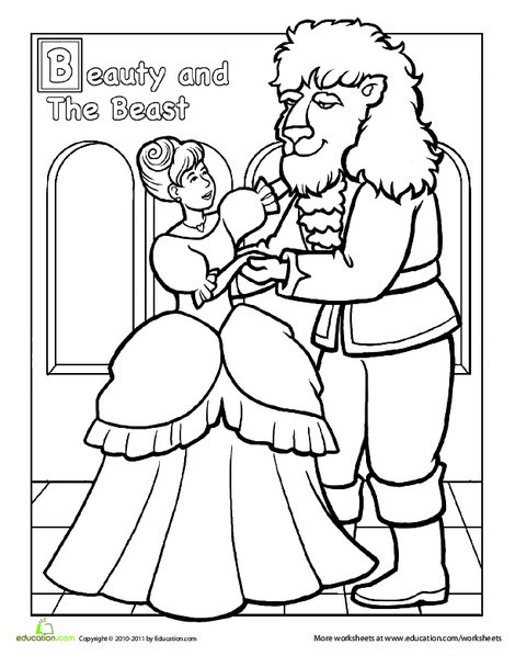 Preschool Coloring Worksheets: Color Beauty and the Beast