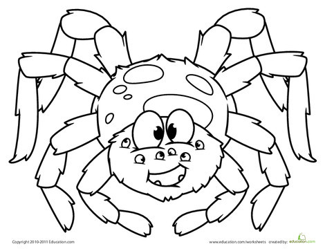 Kindergarten Holidays Worksheets: Cute Spider Coloring Page