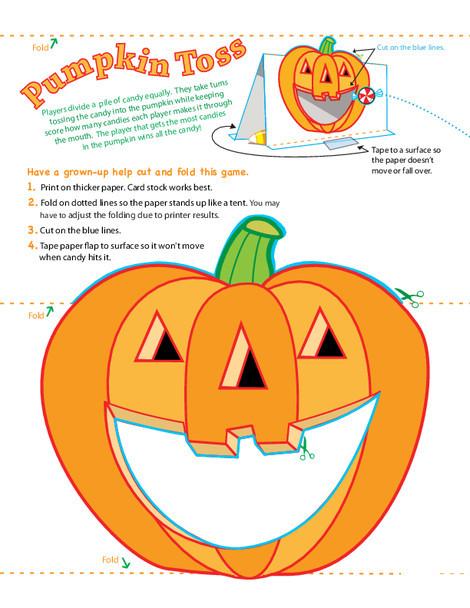Kindergarten Offline games Worksheets: Pumpkin Game: Candy Toss!