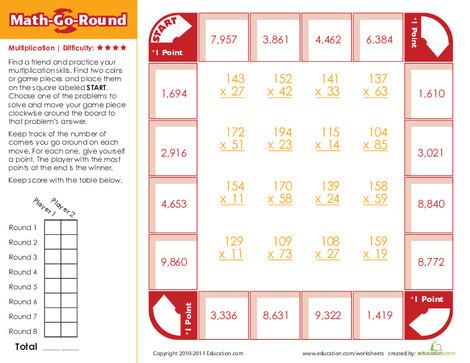Third Grade Math Worksheets: Math-Go-Round: Expert