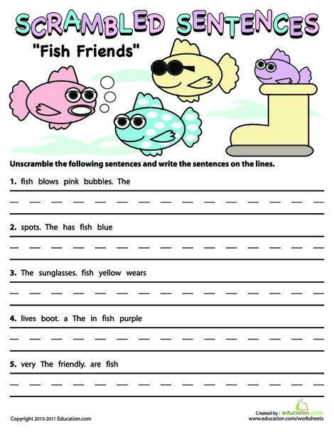 Second Grade Reading & Writing Worksheets: Scrambled Sentences: Fish Friends