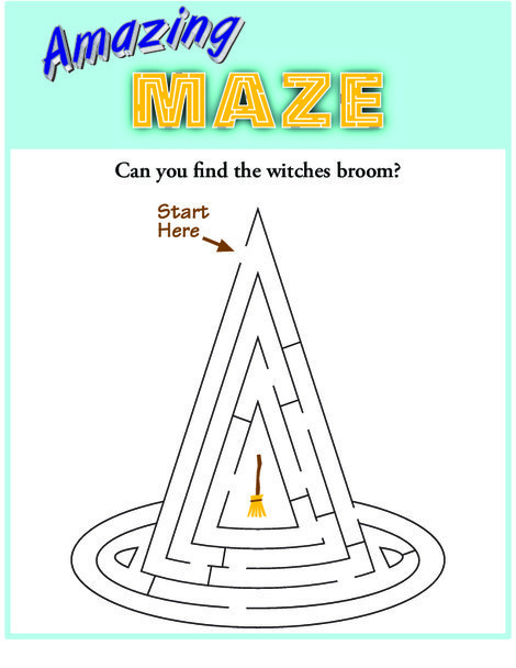 Kindergarten Offline games Worksheets: Witch's Hat Maze