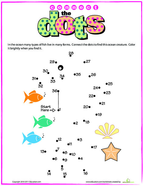 Kindergarten Math Worksheets: Connect the Dots: Seahorse