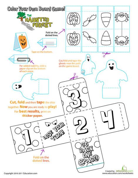Preschool Offline games Worksheets: Halloween Board Game