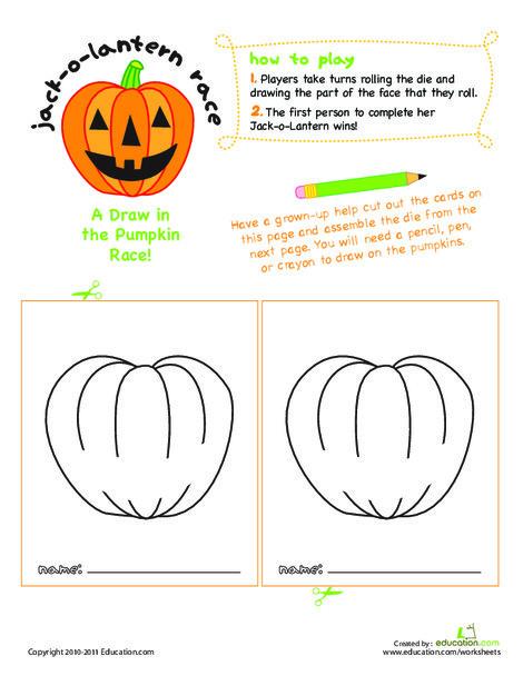 Preschool Offline games Worksheets: Jack-o'-Lantern Face Race