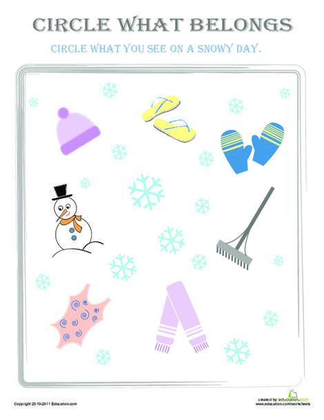 Preschool Math Worksheets: Circle What Belongs: Snowy Day