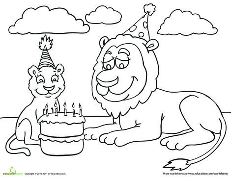 Kindergarten Coloring Worksheets: Birthday Coloring: Lion Party