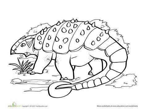 Kindergarten Coloring Worksheets: Color the Dinosaur: Ankylosaurus