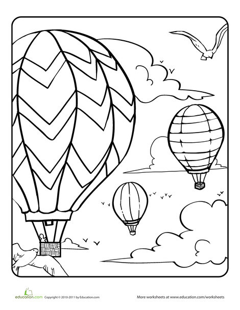 Kindergarten Seasons Worksheets: Hot Air Balloons in the Sky Coloring Page