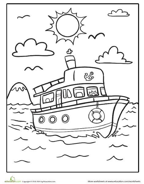 Kindergarten Coloring Worksheets: Boat Coloring Page