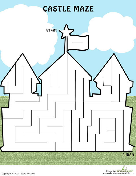 Kindergarten Offline games Worksheets: Castle Maze