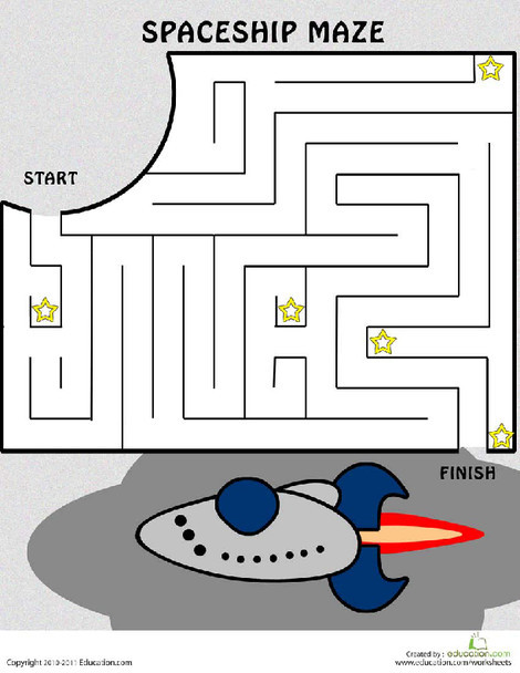 Kindergarten Offline games Worksheets: Spaceship Maze