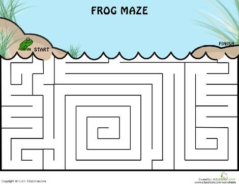 Kindergarten Offline games Worksheets: Frog Maze