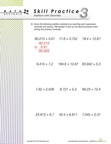Fourth Grade Math Worksheets: Dizzy Over Decimals: Addition #3