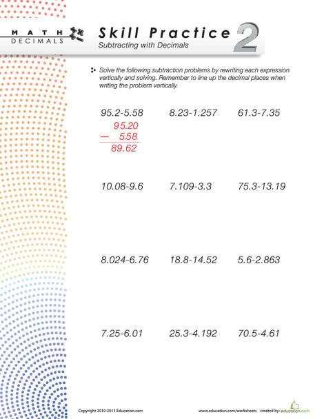 Fourth Grade Math Worksheets: Dizzy Over Decimals: Subtraction #2