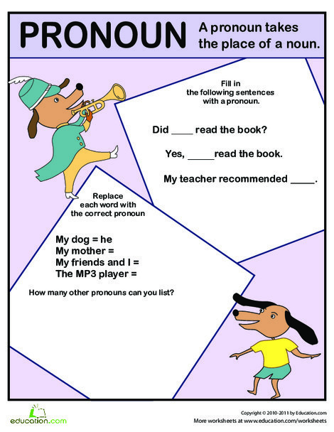 First Grade Reading & Writing Worksheets: Pronoun Exercise