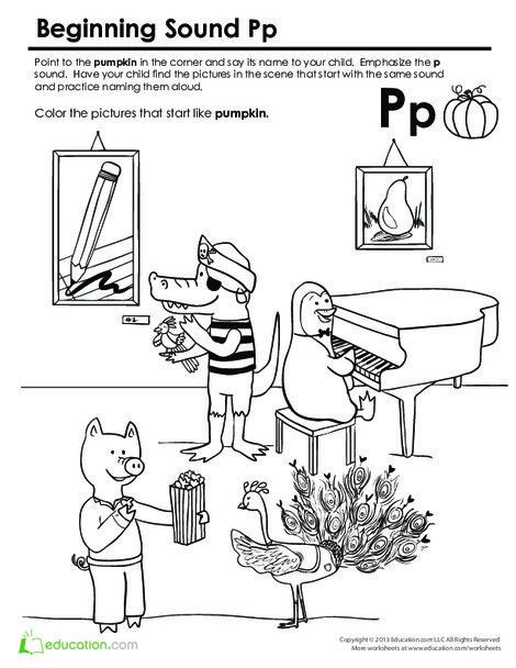 Preschool Reading & Writing Worksheets: Beginning Sounds Coloring: Sounds Like Pumpkin