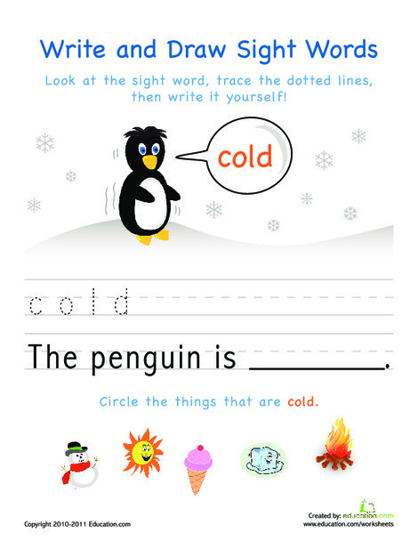 Kindergarten Reading & Writing Worksheets: Write and Draw Sight Words: Cold