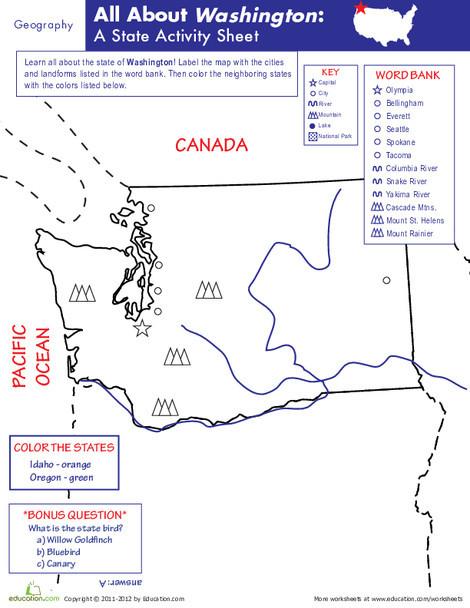 Fifth Grade Social studies Worksheets: Washington Geography