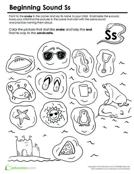 Preschool Reading & Writing Worksheets: Beginning Sounds Coloring: Sounds Like Snake