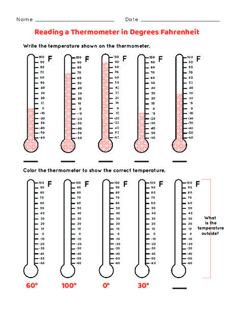 First Grade Science Worksheets: Reading the Thermometer