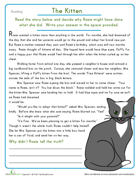 Fourth Grade Reading & Writing Worksheets: Reading Comprehension: The Kitten