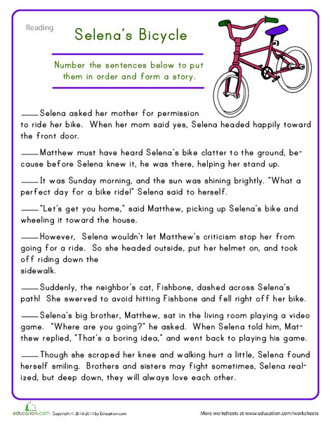 Fourth Grade Reading & Writing Worksheets: Story Sequencing: Selena's Bicycle