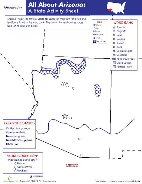 Fifth Grade Social studies Worksheets: Arizona Geography