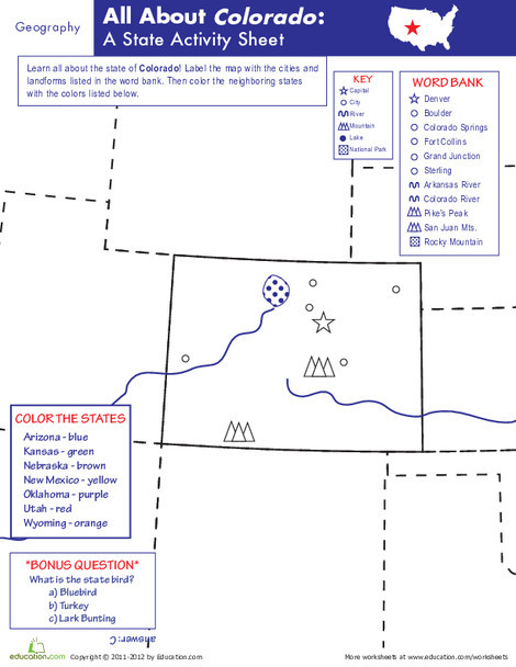 Fifth Grade Social studies Worksheets: Colorado Geography